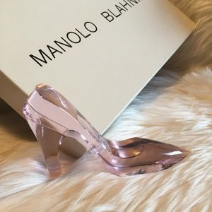 Glass Pink Shoe Paperweight